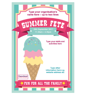 Summer Fete poster with ice cream