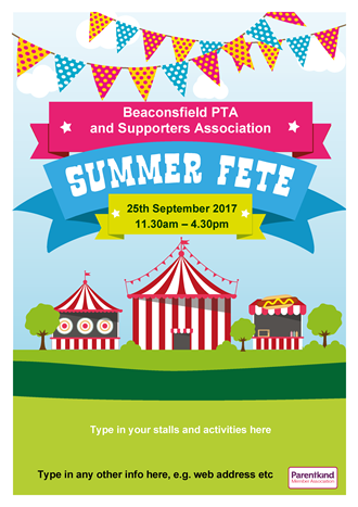 Summer Fete poster with stalls