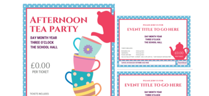 Afternoon tea event posters, flyers and recipes