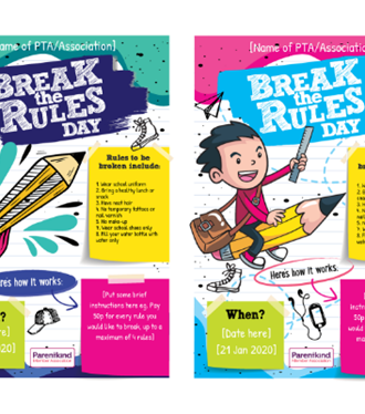 Poster to advertise Break the Rules day fundraiser