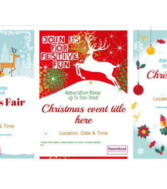 Parentkind Christmas event posters