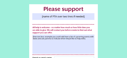 Support the PTA flyer